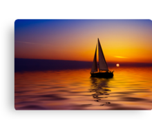 Sailboat against a beautiful sunset Canvas Print