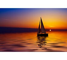 Sailboat against a beautiful sunset Photographic Print