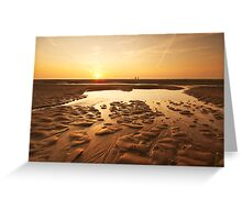 sunset evening on the beach Greeting Card
