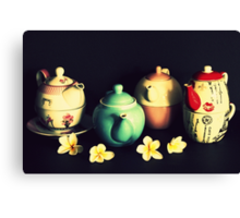 Teapots and Frangipanis Canvas Print