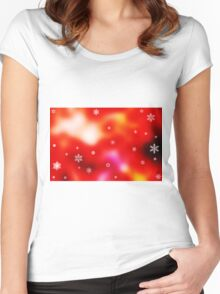 Snowflakes on red background Women's Fitted Scoop T-Shirt