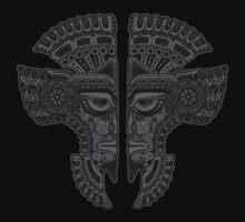 Dark Aztec Twins Mask Illusion One Piece - Long Sleeve