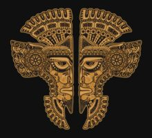 Yellow and Black Aztec Twins Mask Illusion Baby Tee