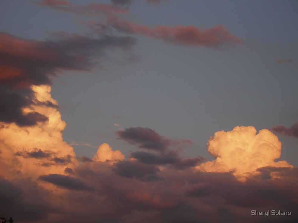 Orange & Grey Cloud Explosion by Sheryl Solano
