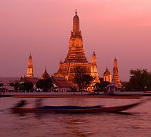 Sunset Temple And Boat by Dave Lloyd