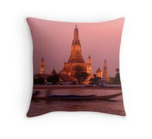 Sunset Temple And Boat Throw Pillow