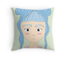 Blue Haired Girl with Buns Throw Pillow