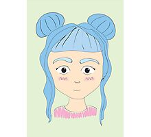 Blue Haired Girl with Buns Photographic Print