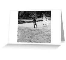 A leisurely race along the beach! Greeting Card