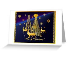 Gold Christmas Trees and Reindeer Greeting Card