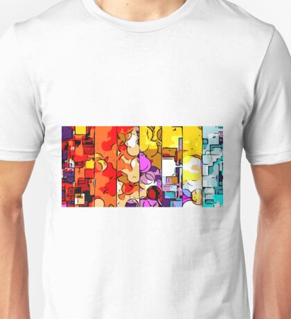 psychedelic geometric graffiti drawing and painting in orange pink red yellow blue brown purple and yellow Unisex T-Shirt