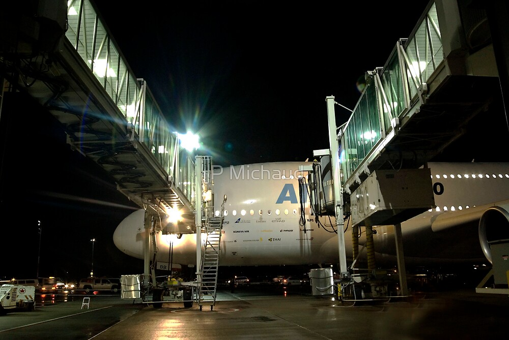 A380 & Passenger Boarding Bridges (YVR) by P Michaud