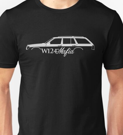 W124 Mafia car silhouette for Mercedes W124 E-Class station wagon  enthusiasts Unisex T-Shirt