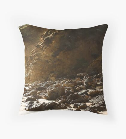 Seaspray rocky shore Throw Pillow