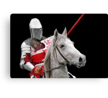 Medieval Knight On Horse Ready For Joust - On Black Canvas Print