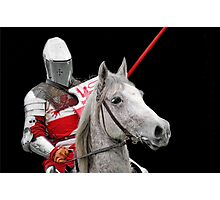 Medieval Knight On Horse Ready For Joust - On Black Photographic Print
