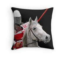 Medieval Knight On Horse Ready For Joust - On Black Throw Pillow