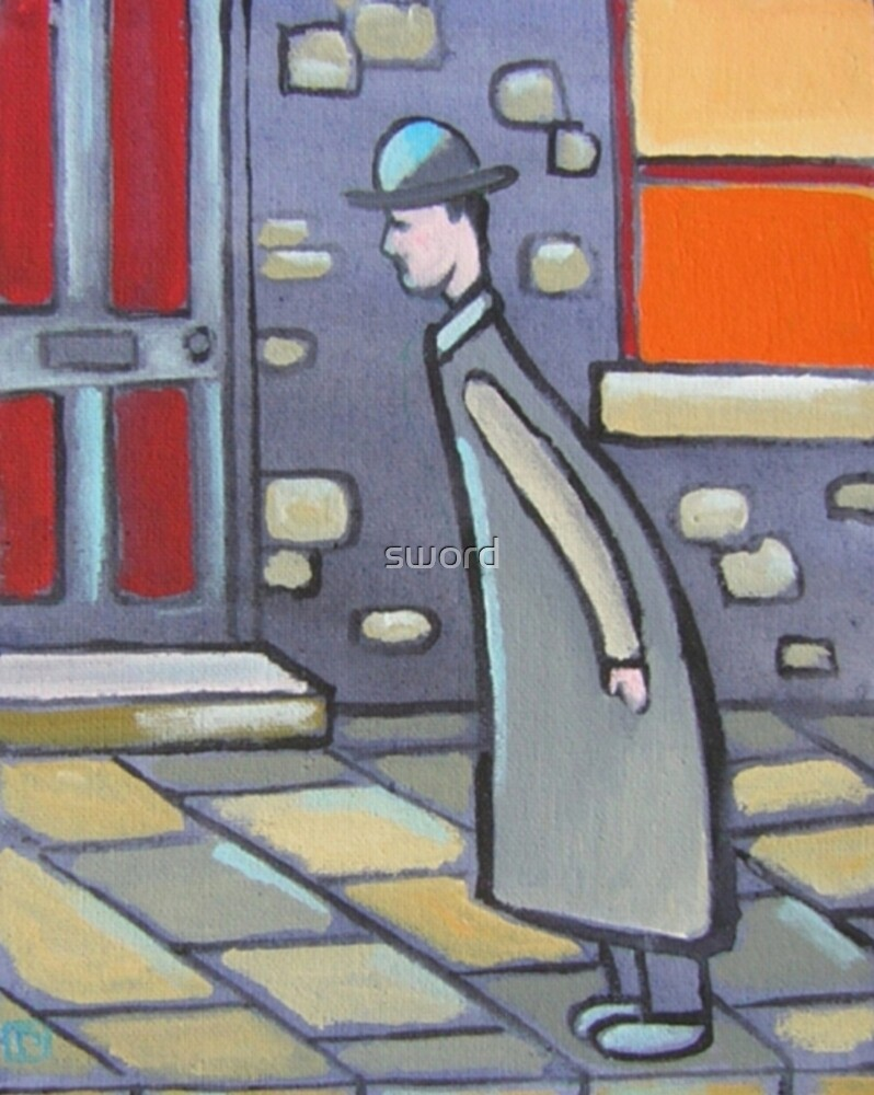A man looking at something (from my original acrylic painting ) by sword