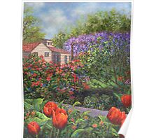 Garden with Tulips and Wisteria Poster