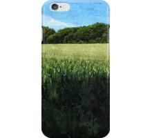 Green wheat field landscape iPhone Case/Skin