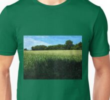 Green wheat field landscape Unisex T-Shirt