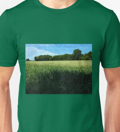 Green wheat field landscape Unisex T-Shirt