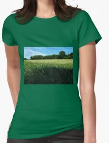 Green wheat field landscape Womens Fitted T-Shirt