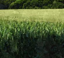 Green wheat field landscape Sticker