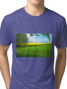 Green field country landscape Tri-blend T-Shirt