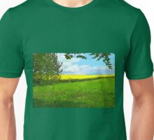 Green field country landscape Unisex T-Shirt