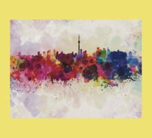 Toronto skyline in watercolor background Kids Clothes