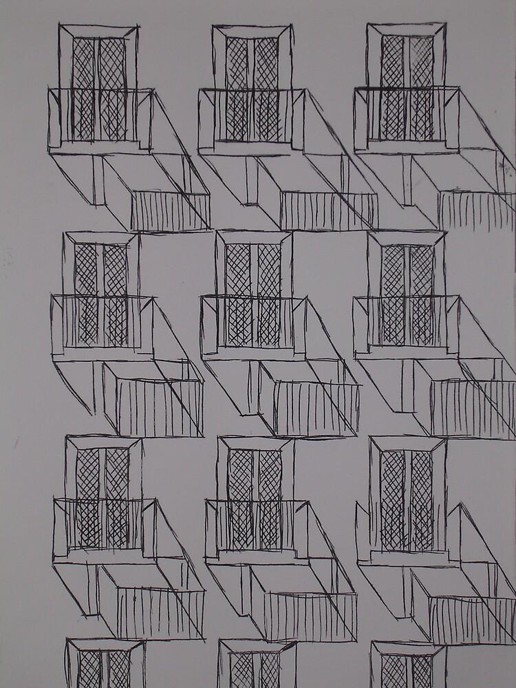 Balcony Shadows by Joan Wild