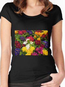 Bunch of multi colored flowers arranged together Women's Fitted Scoop T-Shirt