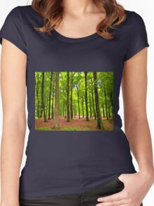 Beautiful lush Forest landscape Women's Fitted Scoop T-Shirt