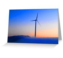 Alternative energy wind mills in the snow Greeting Card