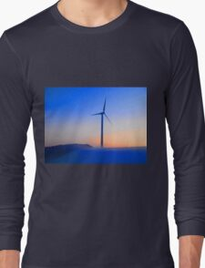 Alternative energy wind mills in the snow Long Sleeve T-Shirt