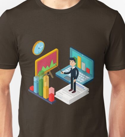 Business Presentation Isometric Concept with Businessman, Laptop, Charts Unisex T-Shirt