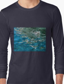 Blue water ripples background Long Sleeve T-Shirt