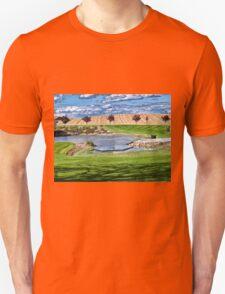 Beautiful classical garden fish pond gardening background T-Shirt