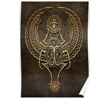 Stone Winged Egyptian Scarab Beetle with Ankh  Poster