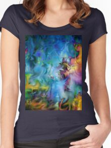 abstract art, blue, purple, yellow, white, red Women's Fitted Scoop T-Shirt