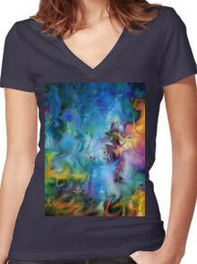 abstract art, blue, purple, yellow, white, red Women's Fitted V-Neck T-Shirt