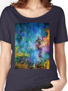 abstract art, blue, purple, yellow, white, red Women's Relaxed Fit T-Shirt