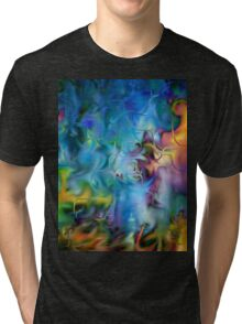 abstract art, blue, purple, yellow, white, red Tri-blend T-Shirt