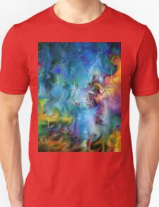 abstract art, blue, purple, yellow, white, red T-Shirt