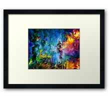 abstract art, blue, purple, yellow, white, red Framed Print