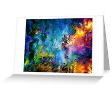 abstract art, blue, purple, yellow, white, red Greeting Card