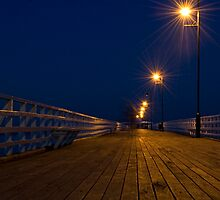 Shorncliffe Pier at Night by Judy Harland