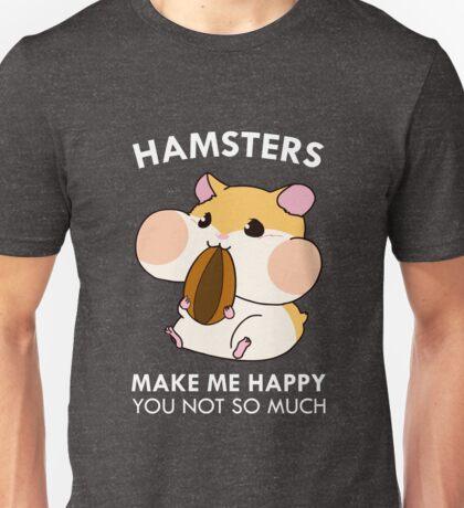 Hamsters Make Me Happy Funny Blushing Hamster Unisex T-Shirt
