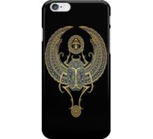 Golden Blue Winged Egyptian Scarab Beetle with Ankh  iPhone Case/Skin